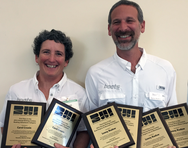 Carol Cronin and Lenny Rudow won six awards for stories published on boats.com in 2014.