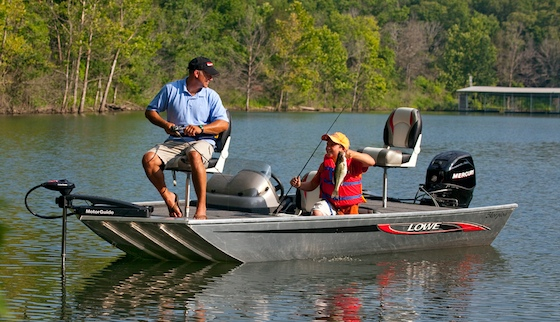 Priced at $7,999, this 16-foot Skorpion bass boat is Lowe's entry in the growing market for budget-priced aluminum boats.