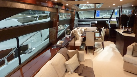 The main saloon's port side includes room to relax and also dine.