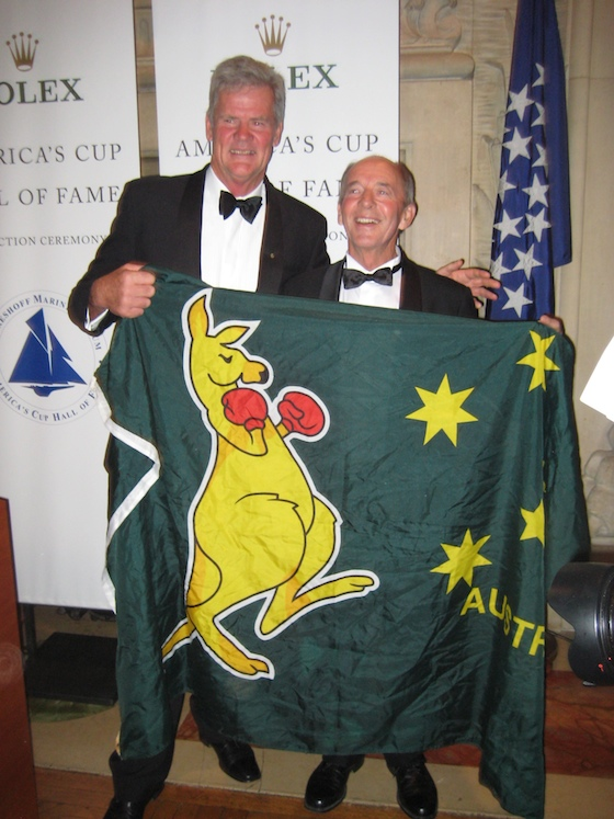 Chink and Schnack pose with Australia II's standard.