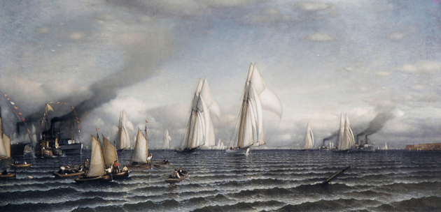 The first America's Cup took place in 1851 between the USA and Great Britain. Painting by Samuel Colman - Metropolitan Museum