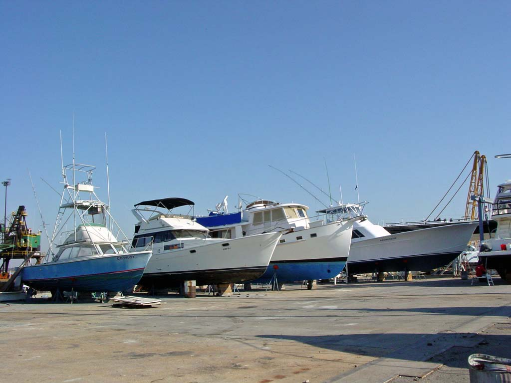 A photo of a boatyard.