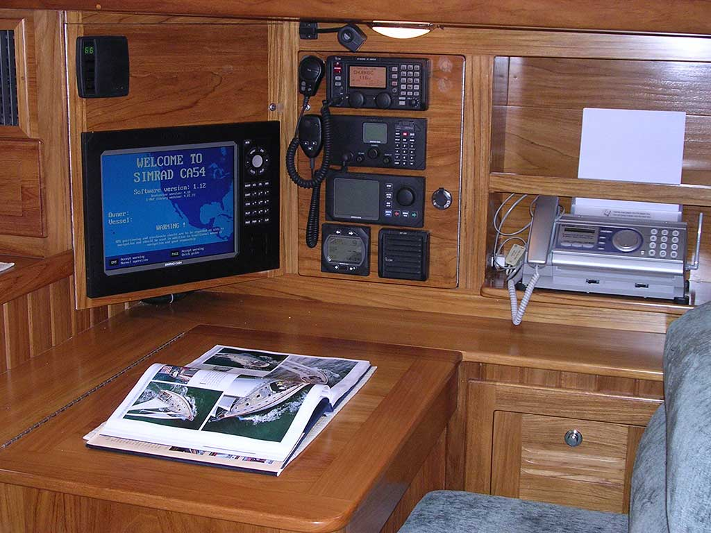 The navigation station on the Cabo Rico 56.