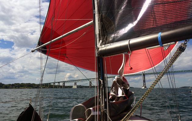 Express 27 under spinnaker in Narragansett Bay