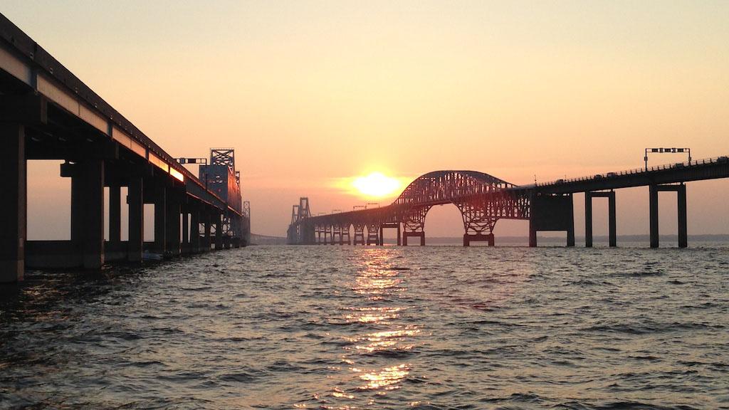 The sun sets over the Chesapeake Bay Bridge near Annapolis, MD.