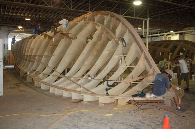 A photo of a cold-molded boat under construction.