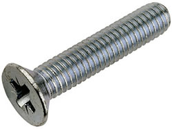 A photo of a flat head machine screw.