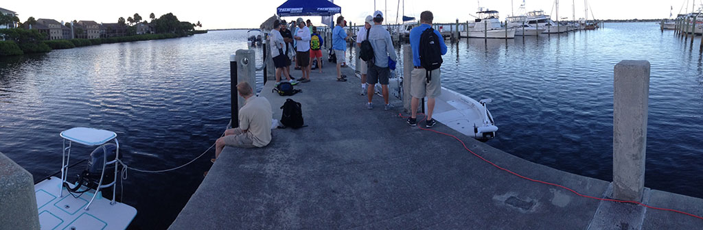 Marine journalists wait during sunrise to chase after the big ones at this year's Maverick Boat Company media event.