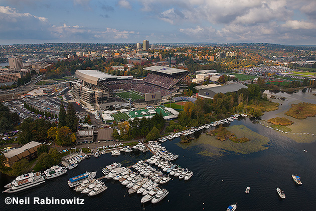 Husky Stadium: In addition to moorage space for hundreds of boats, the docks can fit a hundred or more yachts when they're rafted, and service many boats with a pick-up and drop-off dock -- all within 50 yards of the stadium entrance.