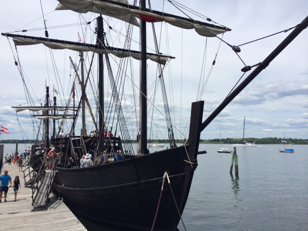 The Nautical Nomad toured the Nina and PInta replicas, which were docked in Bristol RI.