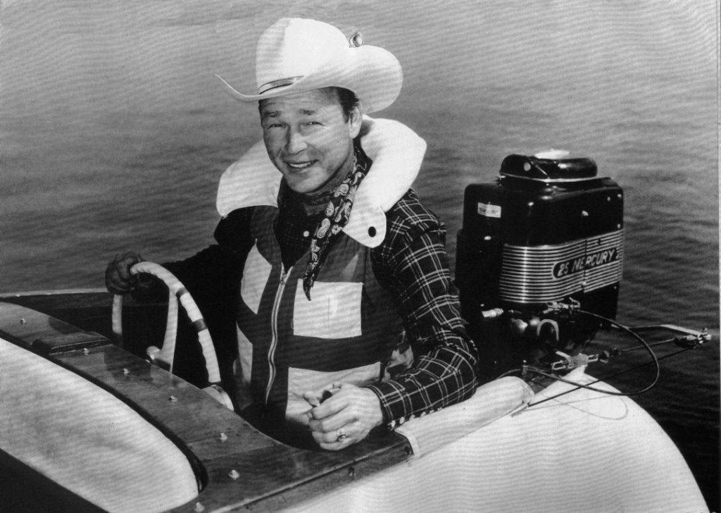 A photo of Roy Rogers in a Yellow Jacket powerboat.