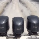 Triple Yamaha F300 outboards in blastoff mode.