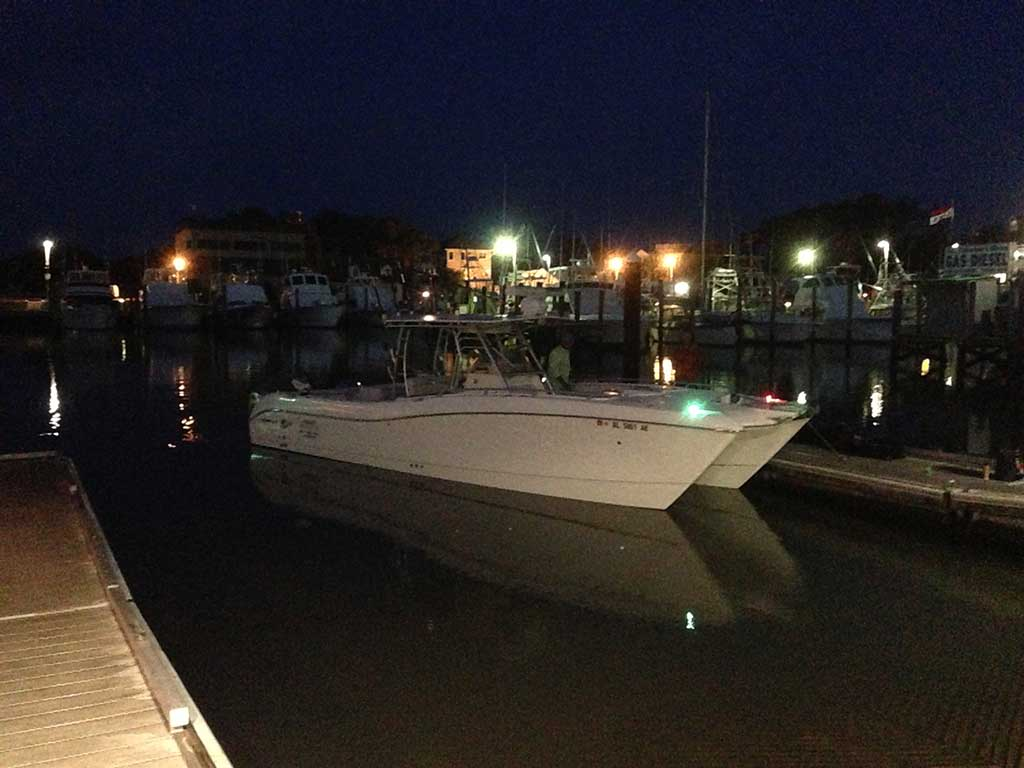It's dark at 5 a.m., in case you didn't know. Our ride for the day was a World Cat 3300 TE power cat run by Capt. Larry Golden of Thrillseeker Fishing Adventures.