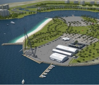 Rendering of the proposed America's Cup village on Al Hamra Island