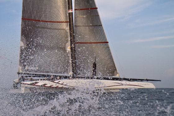 More power! A recent photo of Alinghi training in Ras Al Khaimah with a bigger bowsprit fitted presumably to carry bigger downwind sails.