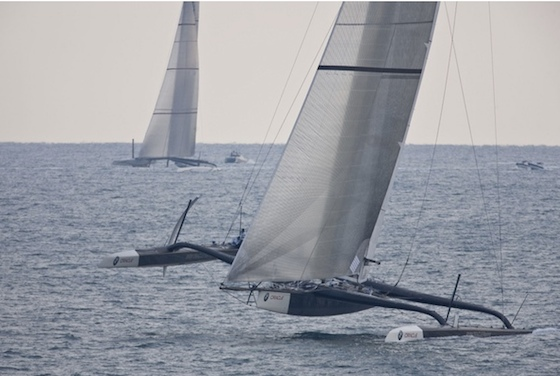 USA had an even great speed advantage downwind, using a massive gennaker set on its sprit, which allowed it to fly both hulls and sail a lower and faster course than Alinghi, on a more direct line to the finish line.