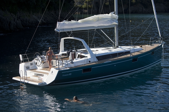 The Beneteau Oceanis 48 has a pushbutton-controlled electric transom.