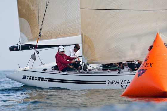 With Russell Coutts calling tactics, Bill Koch steers New Zealand K7 to victory in the Grand Prix division.