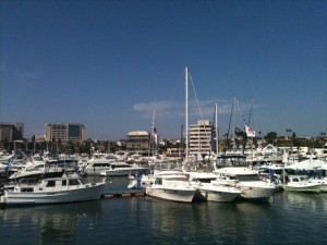 The harbor is lined with everything from sportfishers to cruising sailboats, for the Lido boat show.