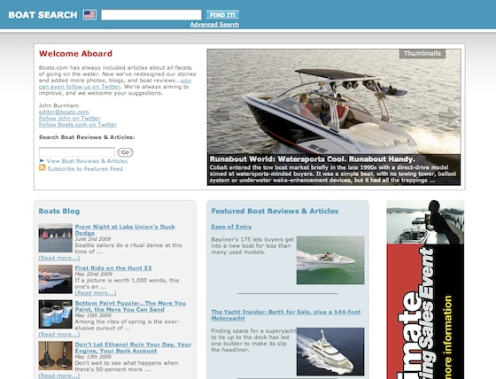 A partial view of the new Boats.com features page