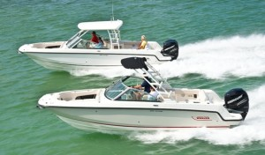 Boston Whaler's new Vantage dual-console boats can be set up for a variety of waterborne activities.