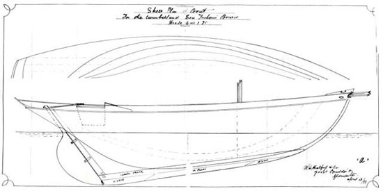 The lines of a typical Bristol Channel Cutter. These were plans for The Solway, which was renamed Carlotta. Carlotta was probably built after a model, not these exact lines. According to her restorers she has more keel rocker, a different rudder-post angle, and a mast stepped farther aft. Plans courtesy of Carlotta's restorers at www.pilotcutter.ca
