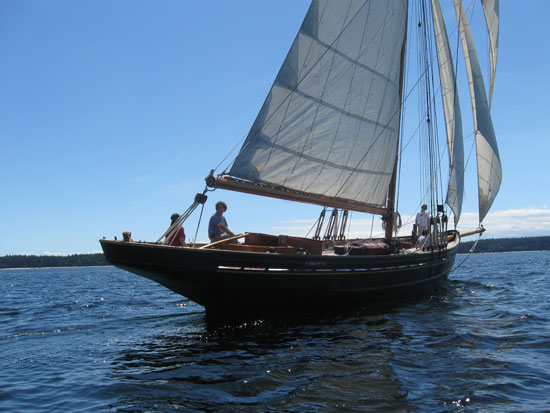 Carlotta, one of the last original Bristol Channel Cutters. Photo courtesy of Carlotta's restorers at www.pilotcutter.ca