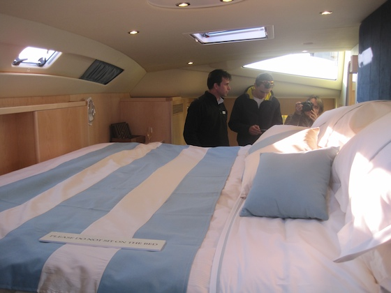 The full-width master stateroom. That's Nigel Stuart, managing director, on the left.