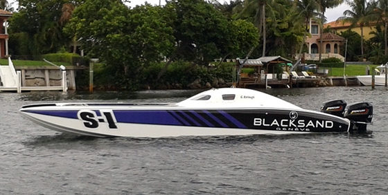 In its debut race in Sarasota, this 32-foot Doug Wright catamaran took first place in the Pro Stock class during the Suncoast Offshore Grand Prix.