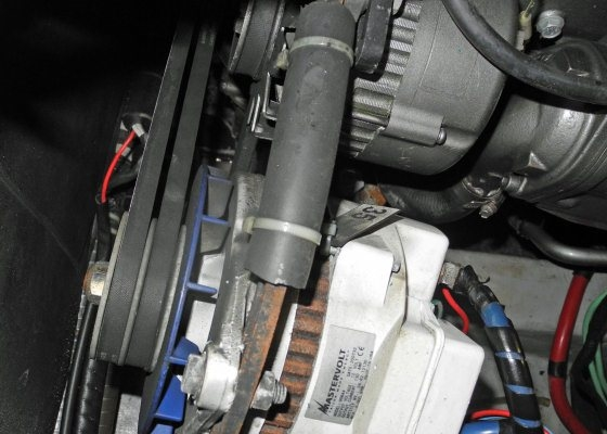 Shown here is a double-belt pulley system on a high-output Mastervolt alternator.