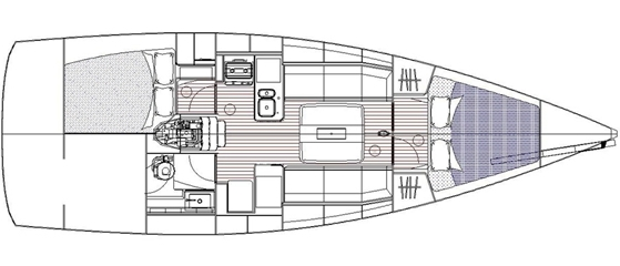 The interior plan is traditional and linear, with doubles fore and aft and a centerline table in the saloon.