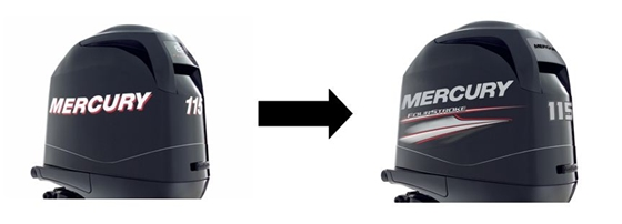 Out with the old, in with the new. Mercury's redesigned graphics work well on this 115 FourStroke.