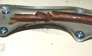 Ethanol apparently caused the inner, urethane layer of this fuel line harden and deteriorate.