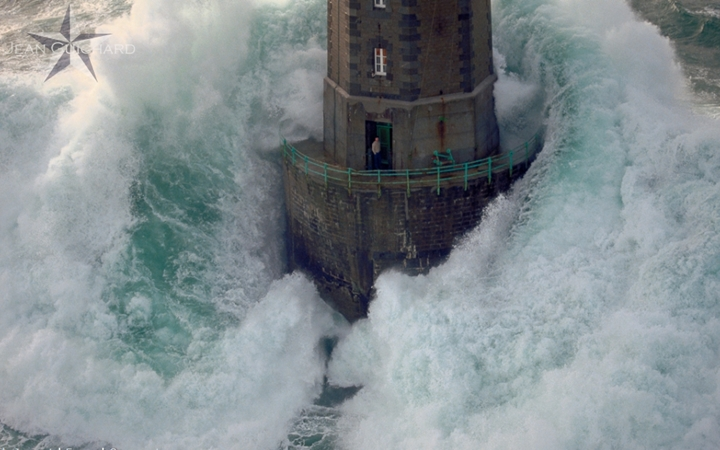 This is one of  Jean Guichard's iconic images of the lighthouse at  La Jument, off Finisterre, Brittany. Photo courtesy of jean-guishard.com.