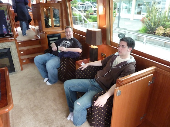 A couple of plush seats in the saloon