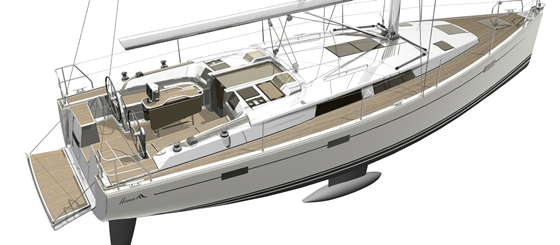 The new Hanse 415 features a large cockpit, low coachroof, and a T-shaped keel. Control lines are tucked under the deck.