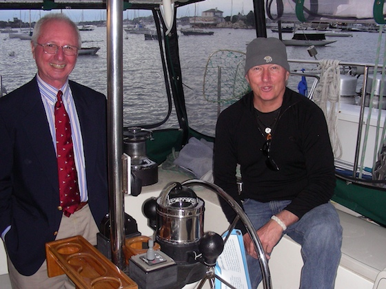 Ocean Watch scribe, Herb McCormick (right), with his friend, cruising sailor Peter King in the semi-enclosed cockpit of Ocean Watch last October