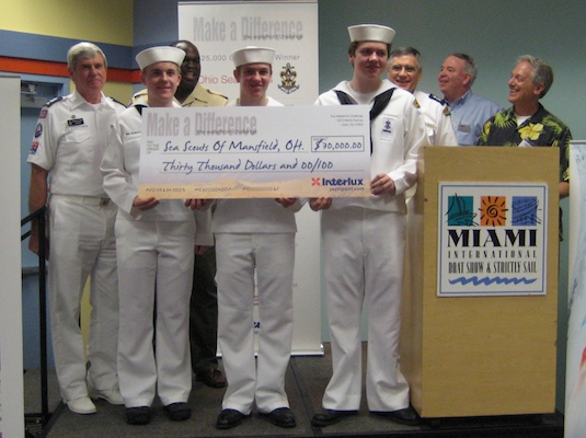 Sea Scout Ship #41 shows off their grand prize $30,000 check.