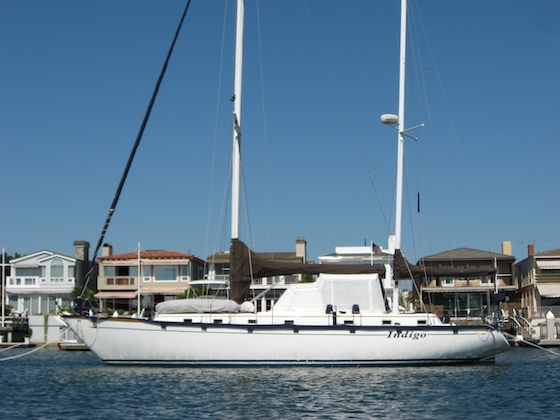 Indigo, the author's cruiser, on her bow-and-stern moorings in Newport Harbor, California