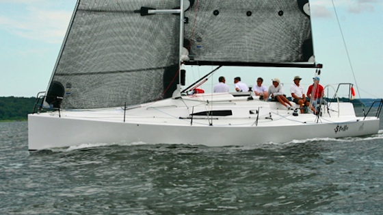 A modern plumb bow and simplified, performance deck layout characterize the newest J/Boat.
