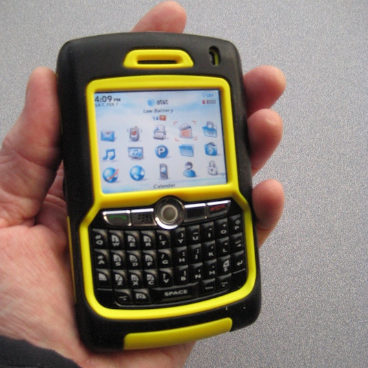 The Blackberry 8800 in Otterbox Defender series case.