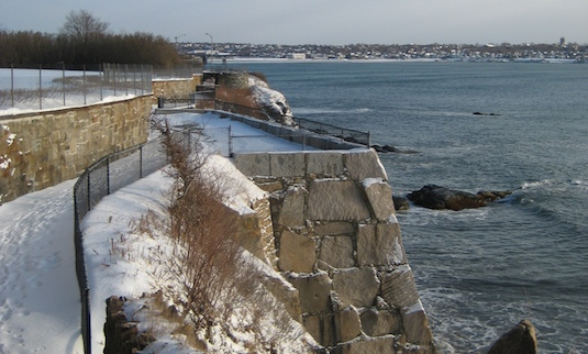 Newport's Cliff Walk after the snow; 21 degrees but in the lee