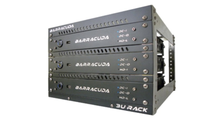 The Barracuda can be mounted in a rack system, or in a bulkhead surface-mount.