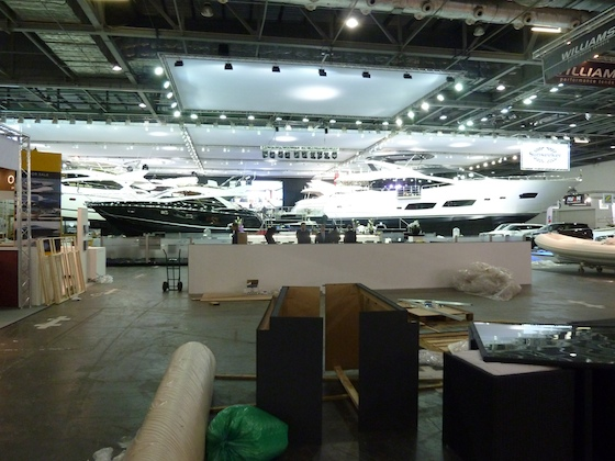 Sunseeker on setup day: the stand includes two new model introductions we'll revisit this weekend.