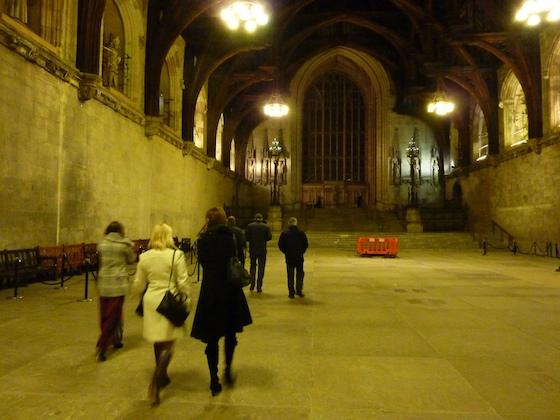The entrance hall at the Houses of Parliament. Photos were prohibited beyond the top of the steps.