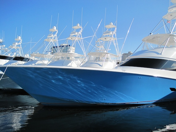 Among the glossy Viking sportfishing boats was the new 76.