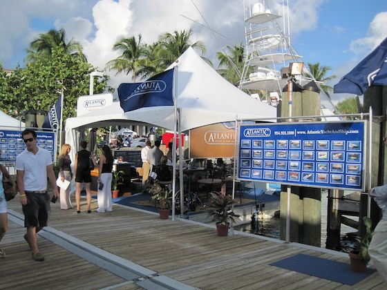 Atlantic Yacht & Ship had a prime position for its stand, on the dock across from the superyachts.