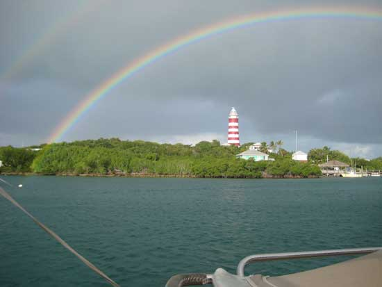 Another rainbow, this one over Hope Town Lighthouse shortly after our arrival