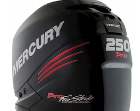 The new Mercury Verado 250 Pro fourstroke outboard engine.