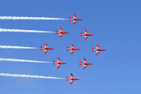 Red Arrows in diamond formation